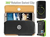 Cell-Stuff Horizontal Leather Noble Executive Case with Swivel Belt Clip Compatible w/Moto G7 Power