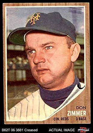 1962 Topps 478 Don Zimmer Cincinnati Reds Baseball Card Deans Cards 3