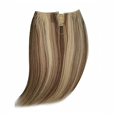 """12"""" Halo Hair Extensions Invisible Wire Remy Quality Human Hair Easy Wear Halo Flip on Extensions (12"""" 80g, P6/16/613)"""