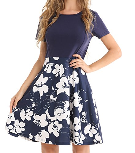 Chiczone Womens Vintage A-Line Floral Contrast Cocktail Party Swing Casual Dress