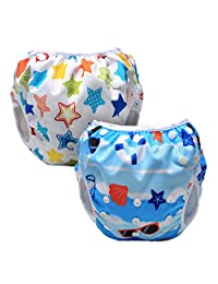 Luxja Reusable Swim Diaper One Size for Infants Toddlers Baby Gifts(Pack of 2)