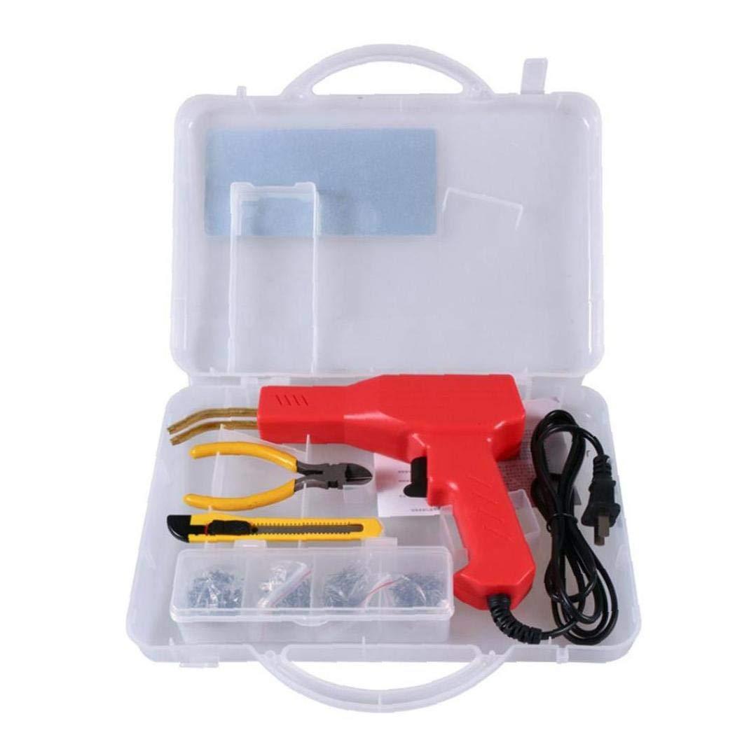 UK Plug,red Car Bumper Hot Stapler Machine Handy Plastic Welder Garage Repairing Welding Kit Machine Set