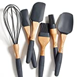 "PortoFino 6 Pc. Baking Utensil Set – Beech Wood & Silicone – Cooking / Pastry Tools – 9"" Large Spatula, Small Spatula, Spoon Spatula, Flat Pastry Brush, Round Pastry Brush, 12"" Balloon Whisk, Grey"