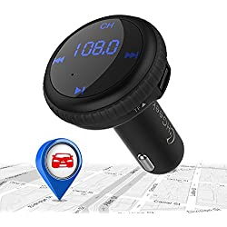Bluetooth FM Transmitter Smart Car Locator CHGeek Wireless Car Radio Adapter MP3 Player Music Gear Hands-free Car Kit 5V/2.1A Dual Port USB Car Charger with LED Display for iPhone Samsung Smartphone