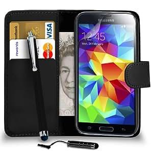 123 Online Samsung Galaxy i9505 S5 Negro Cartera de cuero del caso del tirón de la cubierta Pouch + Mini Touch Stylus Pen + Grandes Touch Stylus Pen + 2 x Protector de pantalla y paño de pulido