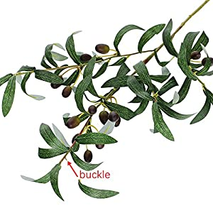 "SUPLA 5 Pack Artificial Olive Branch Spray Plants Houseplant Olives Fruit Plants Greenery UV Resistant Plants 28.3"" Tall for Olive Wreath Indoor Outdoor Wedding Bouquets Floral Arrangements 2"