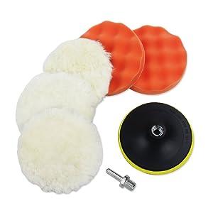 Coceca 7pcs 6 Inches Polishing Pad Kit, Sponge and Wool Polishing Pad Set with M14 Drill Adapter