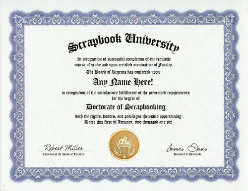 Scrapbooking Degree: Custom Gag Diploma Doctorate Certificate
