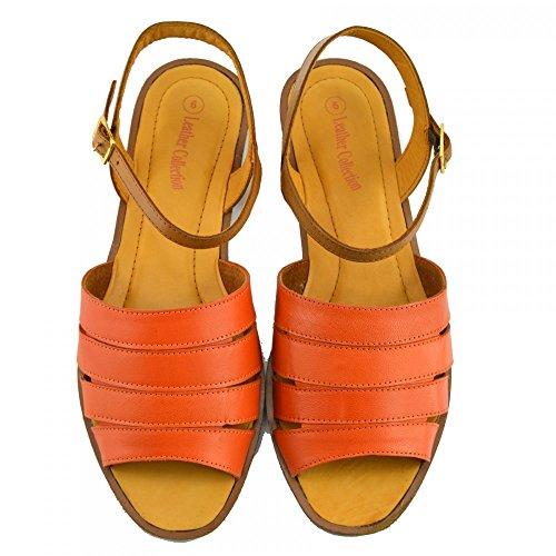Clássico Damenmode Verão Superior Sapatos Unido Pontapé Realleather De 4 Casuais Material Ue Laranja Reino Calçado Sandálias 37 EBqwtz