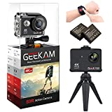 GeeKam Action Camera 4K WiFi 170 Degree Ultra Wide Angle Lens Underwater Waterproof Camera Remote Control Action Cam Video Sports Camera with 2 Rechargeable Batteries and Mounting Accessories Kit