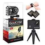GeeKam 4K Action Camera WiFi Ultra HD Underwater 30M Waterproof 170° Wide Angle Lens Sports Camcorder with Remote Control 2 Rechargeable Batteries and Mounting Accessories Kit