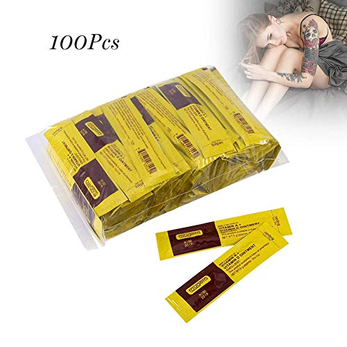 Tattoo Aftercare Cream, 100Pcs/Set Professional Anti-Scar Tattoo Makeup Aftercare Repair Healing Cream Vitamin Ointment