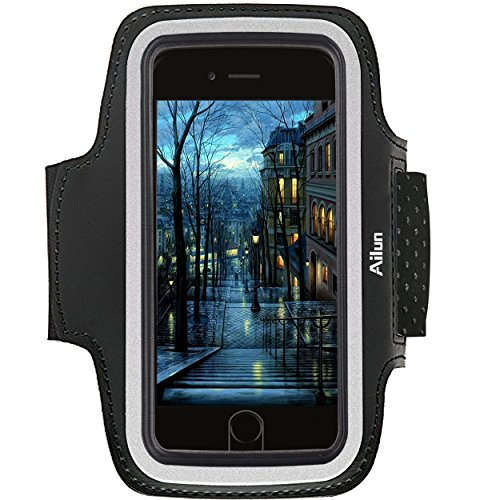 Ailun Phone Armband Compatible iPhone 8 7 X Xs Galaxy S8 S9 S7 S6 Sport Anti Slip Slim Lightweight Dual Arm Size Slots Sweat Scratch Resistant Key Pocket with Touch ID Headphone Port Black