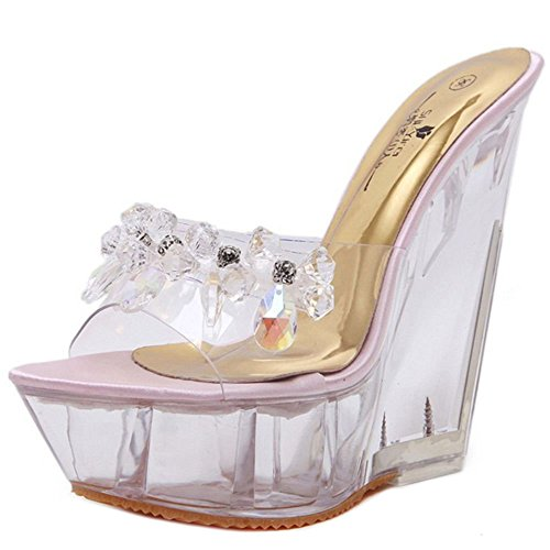 Pink 2 Zanpa Wedges Mules 14 Fashion Heel Women cm zqxA1pZw