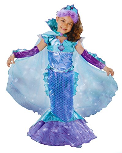 Make A Mermaid Costume (Princess Factory Girl's Sparkly Mermaid Costume - Blue and Purple (5-6))