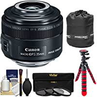 Canon EF-S 35mm f/2.8 Macro IS STM Lens with Built-in Macro Lite with 3 Filters + Pouch + Flex Tripod + Kit