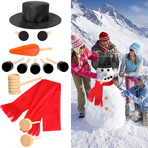 YEAHBEER-Snowman Decorating Kit ,13Pcs Snowman Making Kit for Kid Outdoor Toys-Christmas Decoration,Holiday and Winter Party -