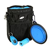 Dog Treat Pouch Training Bag with Adjustable Straps, Collapsible Travel Bowl, Roll of Poop Bags and Clicker by Alvi & Remi