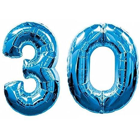 Globo de 30 años Mylar, con número de color azul, altura de ...