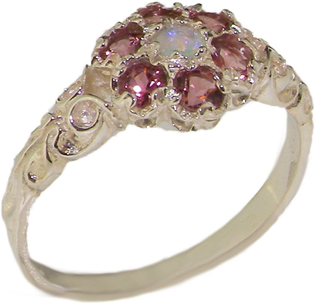 LetsBuyGold 10k White Gold Real Genuine Opal & Pink Tourmaline Womens Band Ring