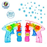 Laeto Toys & Games Light Up Bubble Guns with No Batteries Required Ideal Outdoor Bubble Toy for Children (2 Guns)