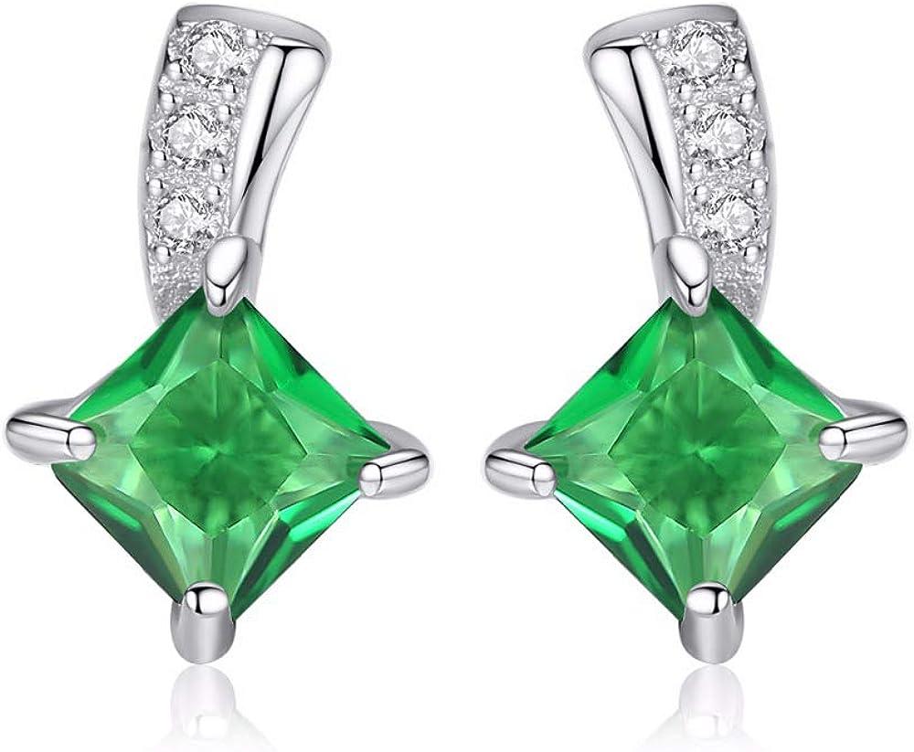 Pendientes Yuan Ou Lindo Verde Cuadrado Cúbico Cristal Plata Pendientes Señora Pequeño Stud Esmeralda Pendientes Para Las Mujeres Joyería Fina Tamaño: 1.0cm * 0.7 Cm