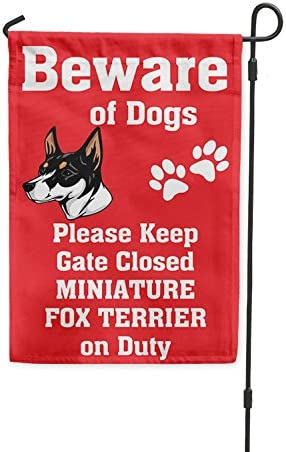 Amazon Com Beware Of Miniature Fox Terrier Dog On Duty Yard Patio House Banner Garden Flag Garden Pole 8 X 11 1 2 Garden Outdoor