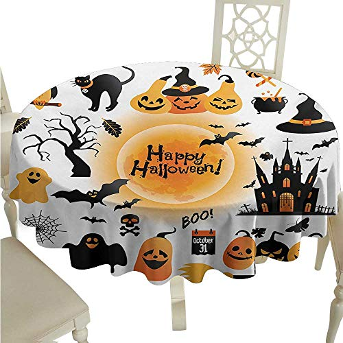 Round Tablecloth spillproof Halloween,All Hallows Day Objects Haunted House Owl and Trick or Treat Candy Black Cat,Orange Black D50,for Umbrella Table -