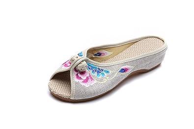 KAFEI Frauen bestickte Schuhe Denim Freizeitaktivitäten Rinder erhöhte Sehne am Ende eines Wortes Fisch Mund flach mit, 38, Blau