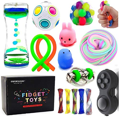 Sensory Fidget Toys Bundle-DNA Stress Relief Balls with Fidget Hand Toys for Anxiety Kids & Adults-Calming Toys for ADHD Autism Anxiety (Best Fidget Toys For Adhd)