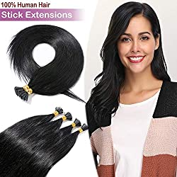"""18"""" 100 Strands Remy I Tip Fusion Human Hair Extensions 50g Pre Bonded Italian Keratin Glue in Hair Extensions Stick Tips Extensions Long Straight #1 Jet Black"""