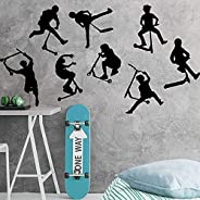 LORBAY Worthy Set of 8 Stunt Scooter Wall Stickers boy Room Kids Room Stunt Scooter Bike Sports Wall Decal Bed