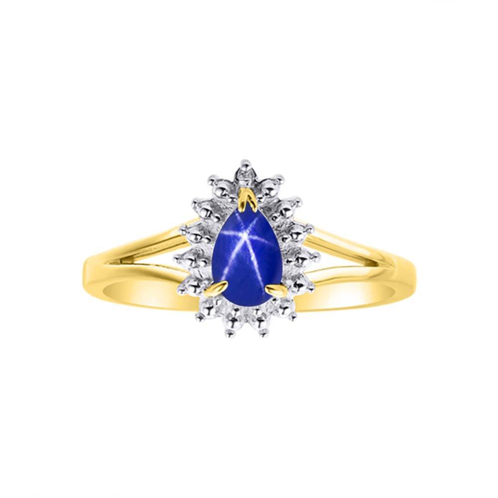 Diamond & Blue Star Sapphire Ring Set In 14K Yellow Gold