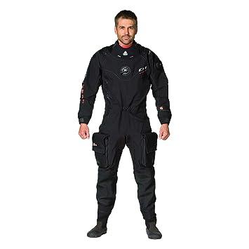 Impermeable D1 hombre híbrida traje seco, Negro: Amazon.es ...