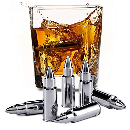 Stainless Steel Bullet Shaped Whiskey Stones Set of 6 - Premium Chilling Rocks - Ice Stones With Tongs And Freezer Pouch, Great Gift Idea for Whiskey Lovers -
