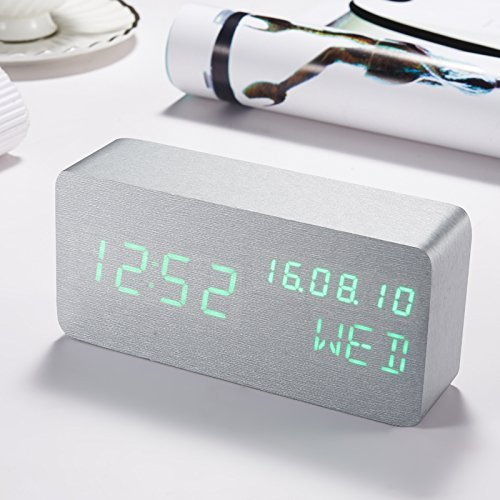 HOMEE Clock-bedside led wood luminous alarm clock,P by HOMEE