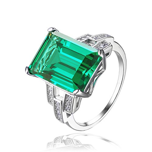 Jewelrypalace Womens 6.46ct Emerald Cut Created Green Nano Emerald 925 Sterling Silver Ring Size 7