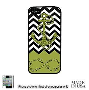 Anchor Live the Life You Love Infinity Quote (Not Actual Glitter) - Green Black White Chevron with Anchor iPhone 5 5S Hard Case - BLACK by Unique Design Gifts