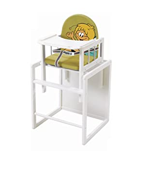 roba Kombi-Hochstuhl Hochstuhl mit Essbrett wandelbar zu Tisch /& Stuhl Kinderhochstuhl Holz natur Sitz gepolstert Biene Maja