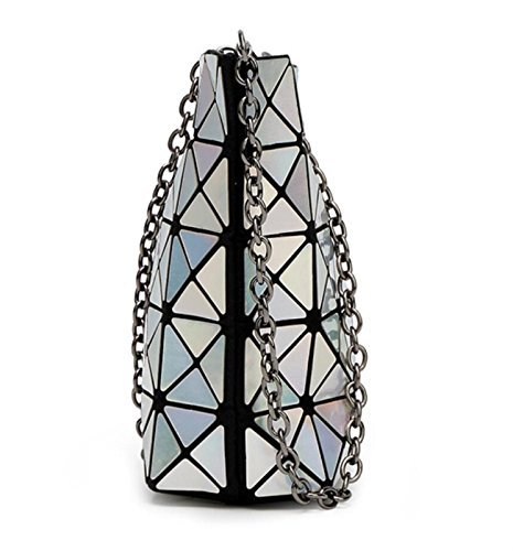 with Bag Light Geometric Orange Shoulder Metal Purse Sulliva Kayers Cross Women's Strap Chain Fashion Black Plaid body qfUx8vT