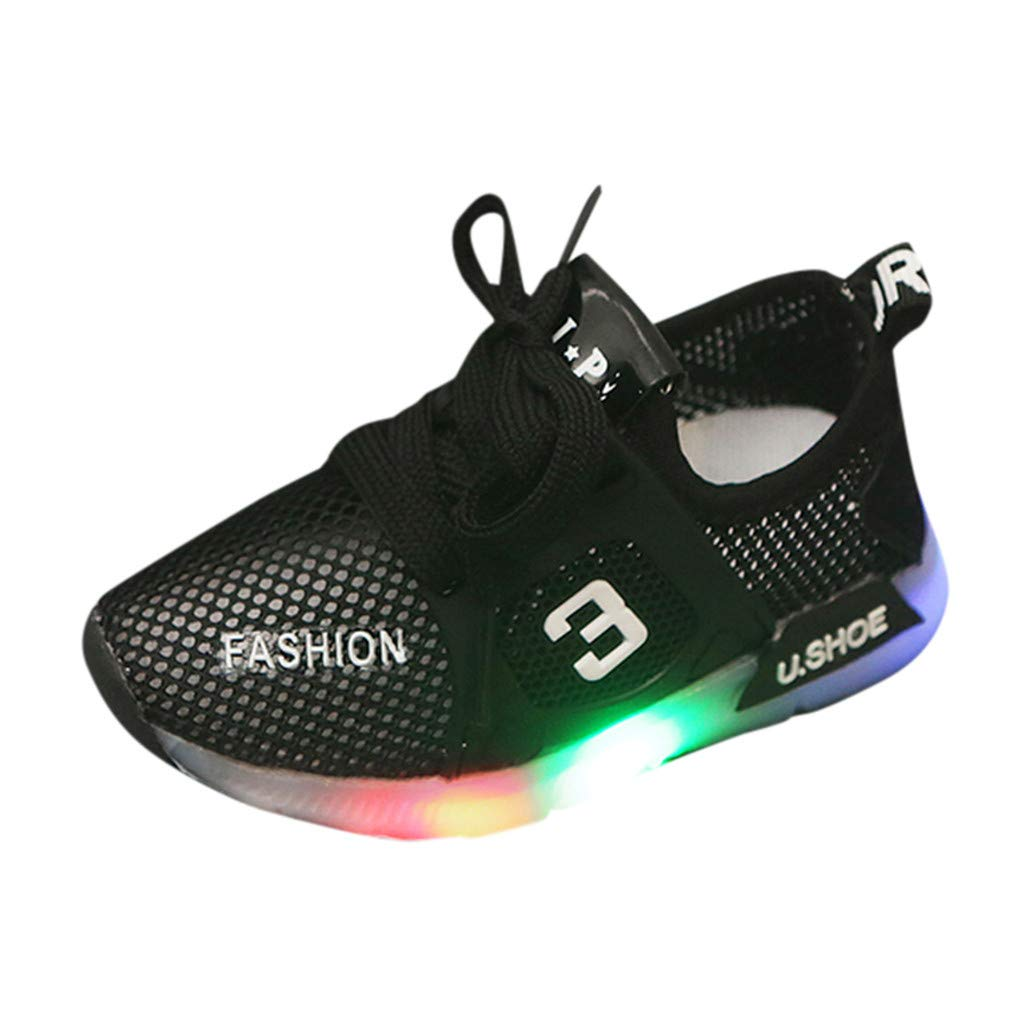 Anxinke Kids Boys Girls Summer Casual Hollowed-out Lace-up Mesh Sneakers with LED Lighting (7 M US Toddler, Black) by Anxinke
