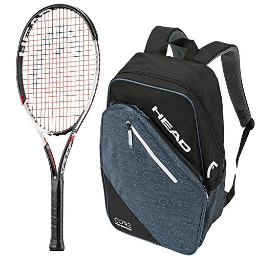 HEAD Speed Comp 25 Inch Junior Tennis Racquet bundled with a Black/Grey Core Tennis Backpack Comp Racquet