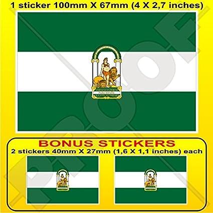 Andalusia bandera Andalucía España Andalucía español, 100 mm vinilo adhesivo, X1 + 2 Bonus Stickers: Amazon.es: Coche y moto