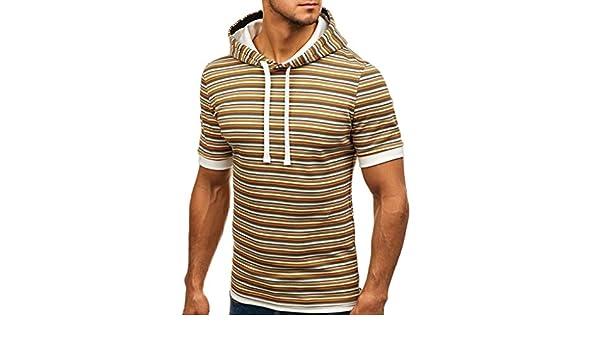 Amazon.com: YKARITIANNA Soft New Fashionable Mens Corded Hoodie Printed Line Short Sleeve Shirt Pullover