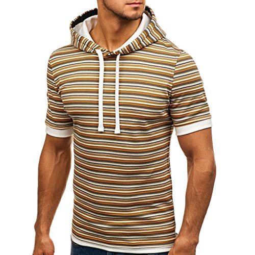 YKARITIANNA Soft New Fashionable Men's Corded Hoodie Printed Line Short Sleeve Shirt ()
