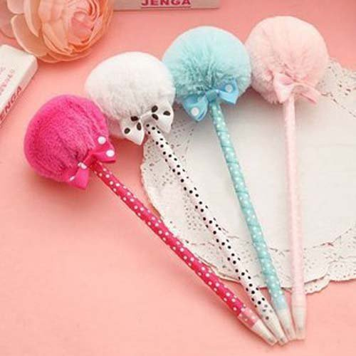 Bow Pen - DoDoo Set of 6 Ballpoint Pens 0.5mm Blue Ink Cute Bow Lollipop Style Prizes Gifts For Girls