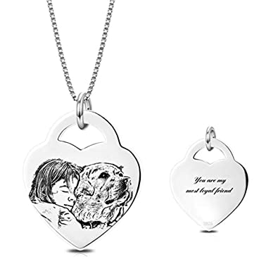 9971919b4bd0 LONAGO 925 Sterling Silver Personalized Photo Necklace Heart Custom ...