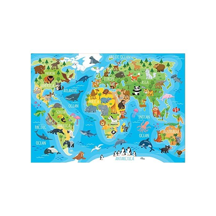 51KouIfhczL Puzzles de 150 piezas , horas de diversión y entretenimiento; dimensiones aproximadas del puzzle montado: 40 x 28 cm Puzzles inspirados en Mapamundi Animales Compuestos por grandes piezas, perfectamente acabadas para que sea sencilla y segura su manipulación por los niños