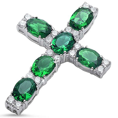 Oval Round Cross - Cross Pendant Cross Charm Round Oval Simulated Green Emerald Cubic Zirconia 925 Sterling Silver (44mm)