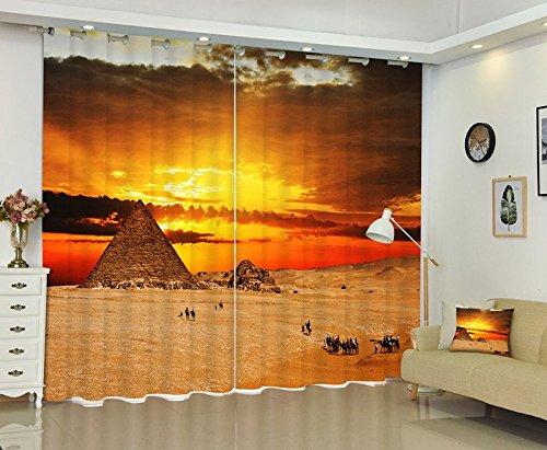 Waple Das Foto der Ägyptischen Pyramiden 3D Fenster Vorhang Angepasste Größe 240X260CM